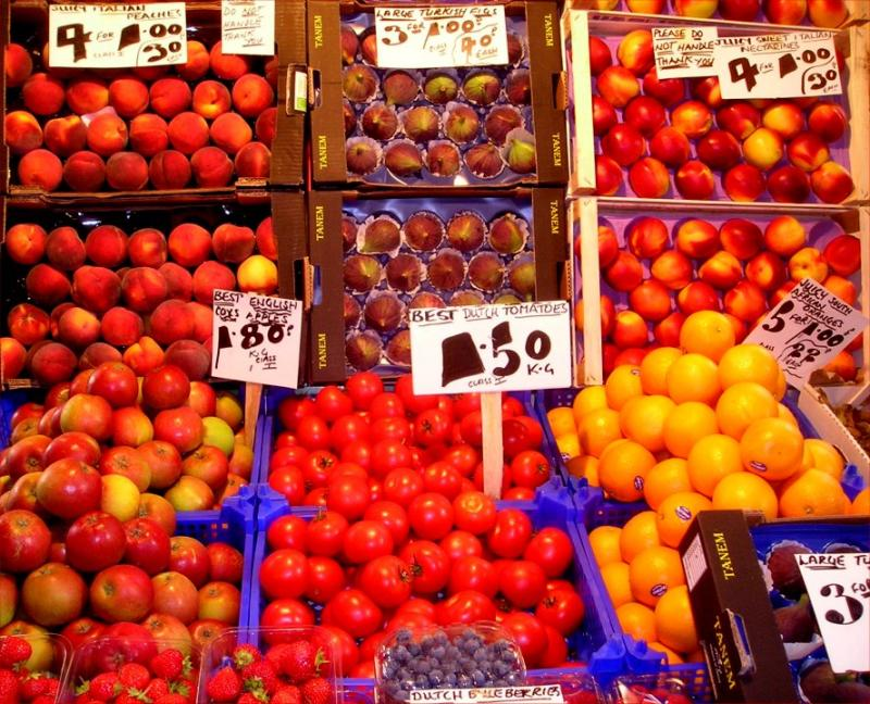 Oxford fruit stand in the covered market
