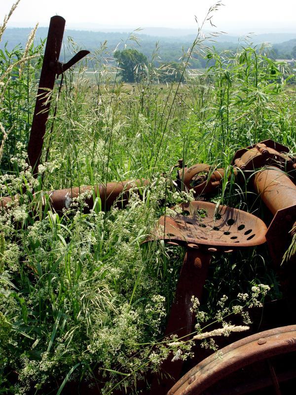 Rusty tractor in a field