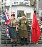 British and Sowiet soldiers at Checkpoint Charlie, Berlin