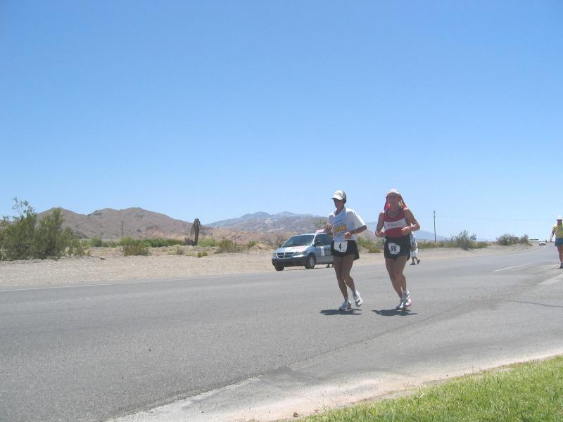 Pam Reed runs past Furnace Creek