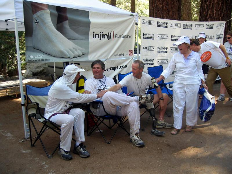 Badwater legends Jack Denness, Scott Weber, & Dan Jensen congratulate each other