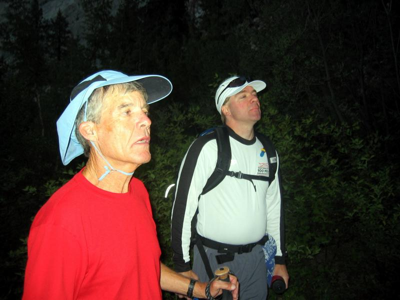 Art and David survey the trail ahead.  Its still dark and we are all tired from the previous days work.