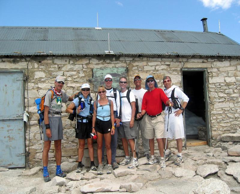 Party on the summit!  John Radich, Linda McFadden, Lisa & David Bliss, Chris Frost, Marshall Ulrich, Art Webb & Tom Triumph