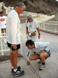 George Biondic & Erlinda weigh Jack Denness at the start line