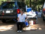 Helen remains dedicated to the study & waits for the last runner volunteer to cross the finish line.
