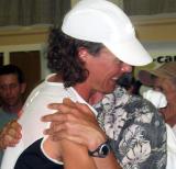 Scott personally congratulates each finisher.