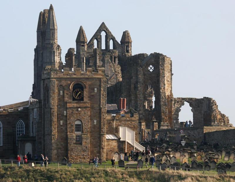 The ruined abbey on the cliff top
