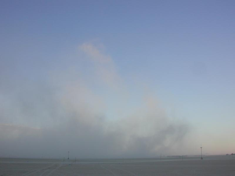 dust plume from a truck