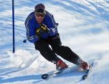 Blowing through the gates - ski racing practice