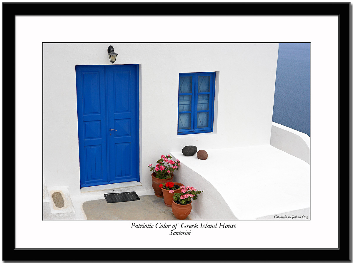 Patriotic Color of a Greek Island House