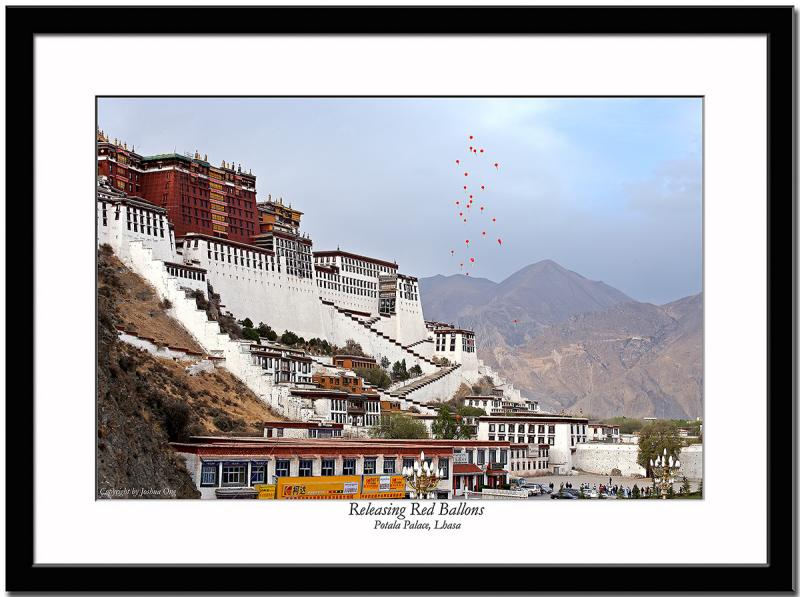 Releasing red ballons in front of Potala Palace