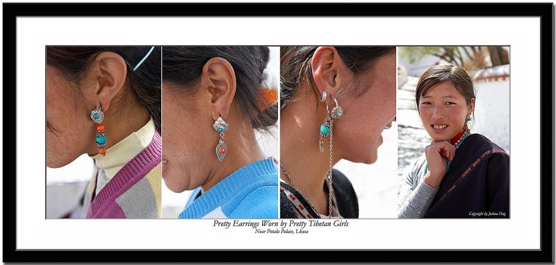 Pretty earrings worn by pretty Tibetan girls