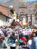 One of the saints is paraded through Cusco