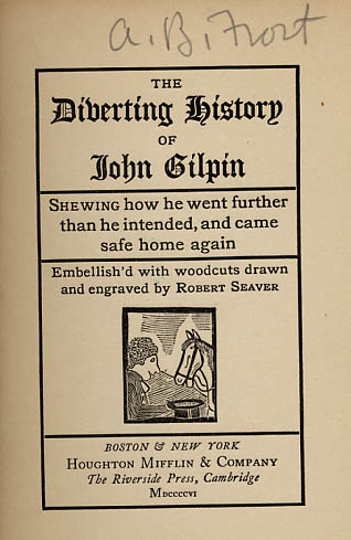 Frosts Copy of The Diverting History of John Gilpin