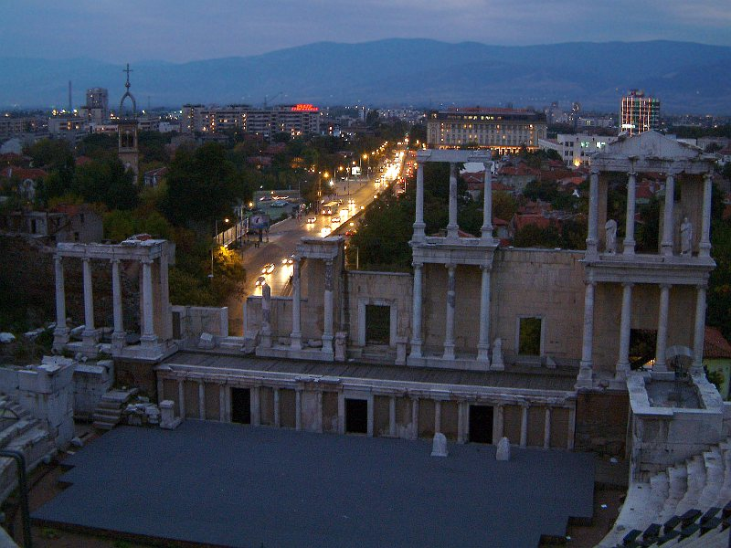 Plovdiv - Roman Theatre at dusk