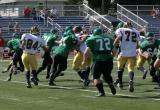 The Seton line blocking for an off-tackle run by Jeremy Sedelmeyer