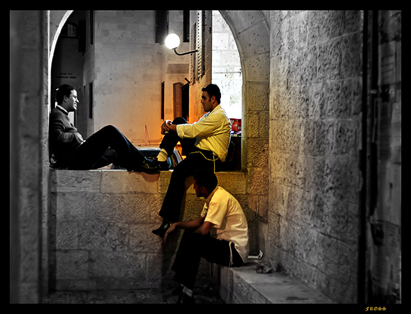 Yeshiva Students Sharing Experiences in the Old City