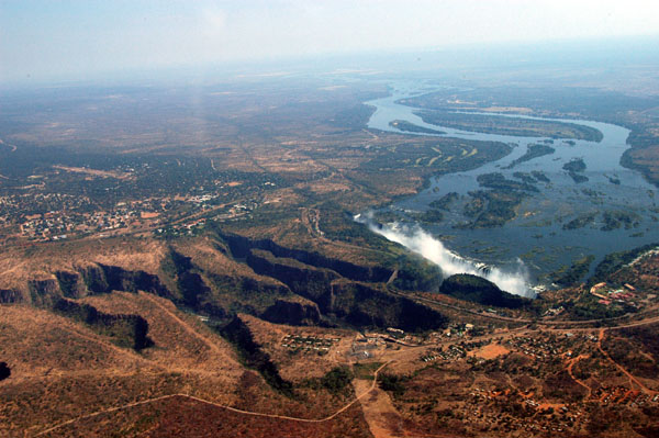 Victoria Falls with the lower gorges