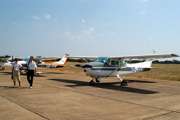Arriving with our pair of 182s in Livingstone, Zambia - 2005