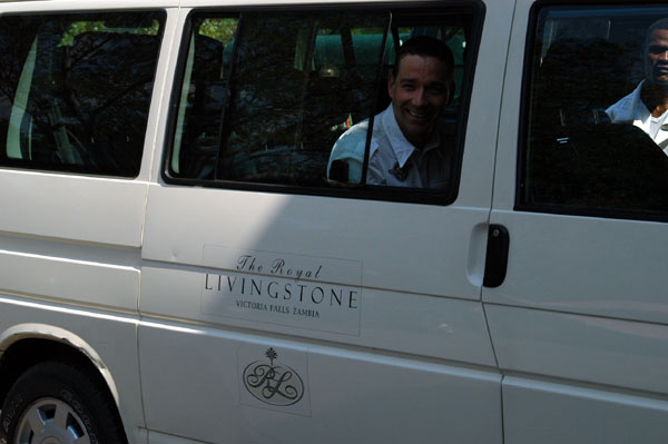 The Royal Livingstones transport from the airport