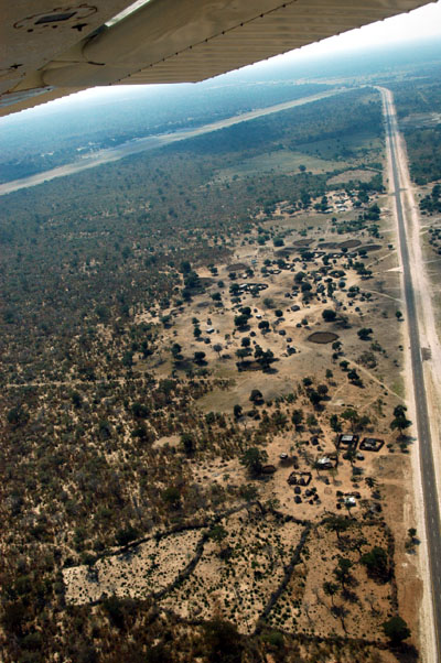 Crossing the Caprivi Highway on approach to Katimas Mpacha Airport