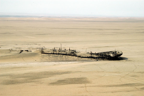 Wreck of the Eduard Bohlen from 1909 now lies far inland from the beach