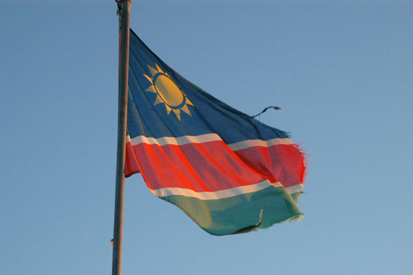 Namibian flag over Namutoni