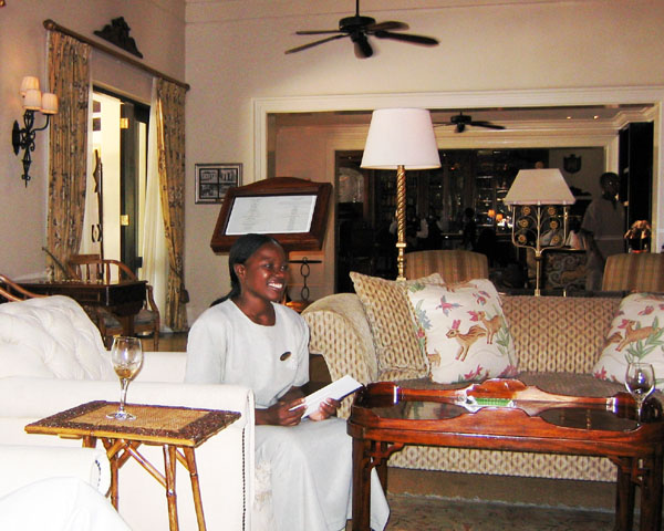 Checking in at the Royal Livingstone Hotel