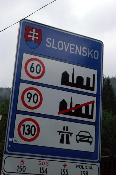 Slovakian speed limit notice