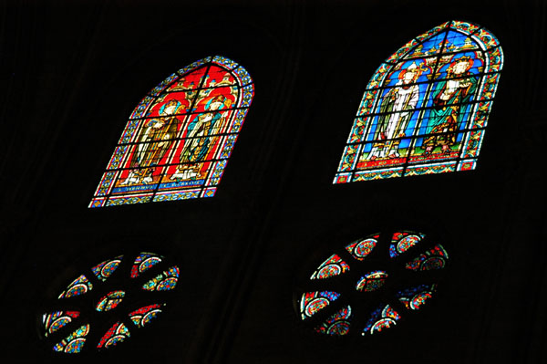 Stained glass windows at Notre Dame
