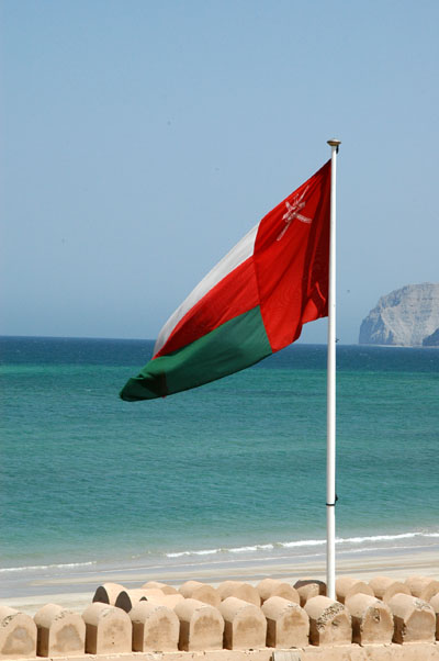 Omani flag over Bukha Fort
