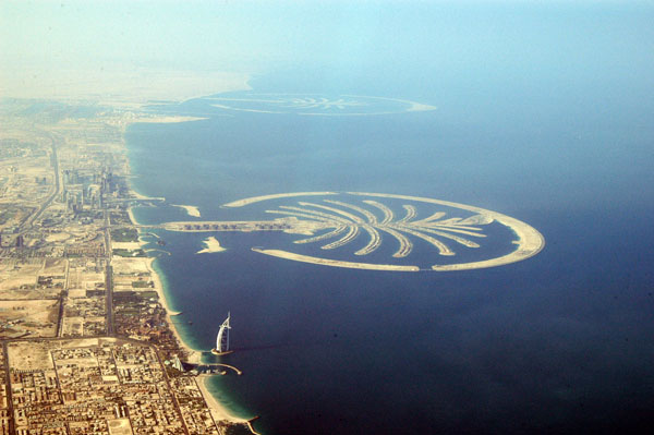 Palm Jumeirah and Palm Jebel Ali in the distance