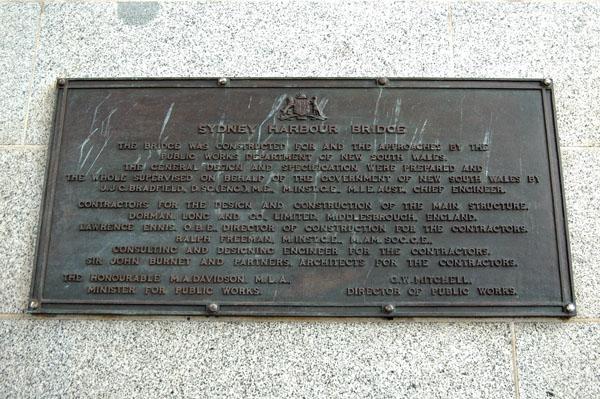 Sydney Harbour Bridge plaque