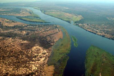 Zambezi River at the junction of Namibia, Zamibia, Zimbabwe and Botswana