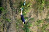 Bungee jumping from the Victoria Falls Bridge, the second highest bungee jump in the world