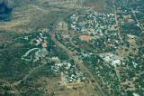 Town of Victoria Falls, Zimbabwe (aerials of the falls under Zambia)