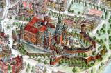 Artistic view of Wawel Castle from a map of Krakow