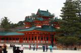 The Heian-jingu Shrine was built in 1895 as a 2/3 scale replica of the Heian-era Imperial Palace