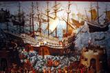 Painting of sailing ships, Tower of London
