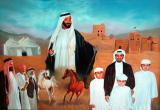 A painting of the Emir of Fujairah's family and Sheikh Zayed