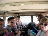 Crowded into the back of an old 4WD for the drive to the beach