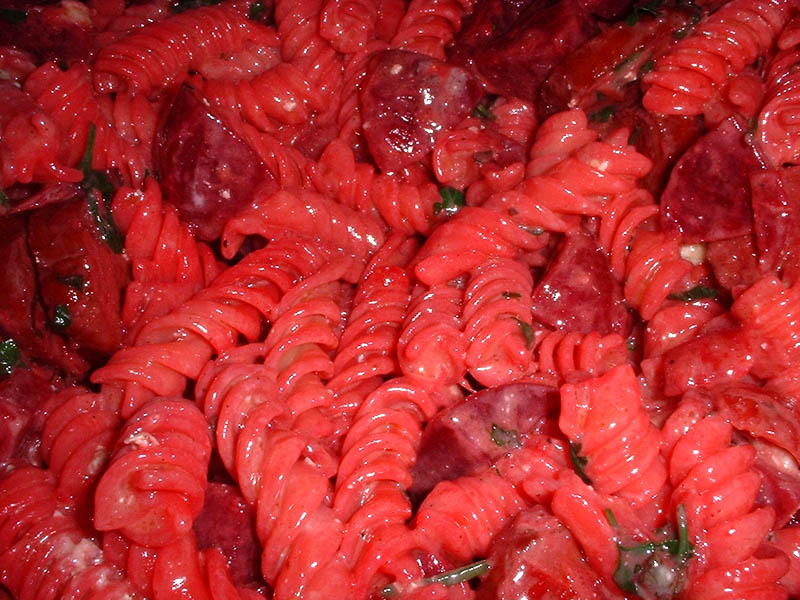 pasta with beets and sausage with gorgonzola
