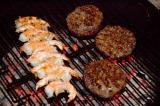 grilling burgers & shrimp (high ISO showing hot coals)
