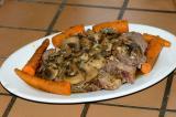 freezer to oven beef roast, sauteed mushrooms