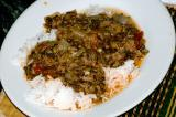 spinach beef over rice