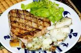 grilled tuna, garlic potato salad