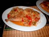chicken with peppers, potatoes, tomatoes