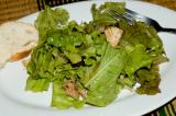 salad greens, leftover grilled chicken chunks