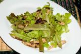 salad with roast chicken and lentils, honey mustard vinaigrette