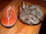 prawns and salmon